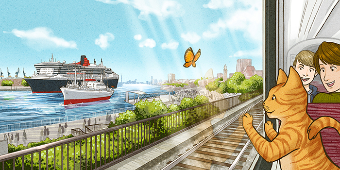 Hamburg Hafen Illustration
