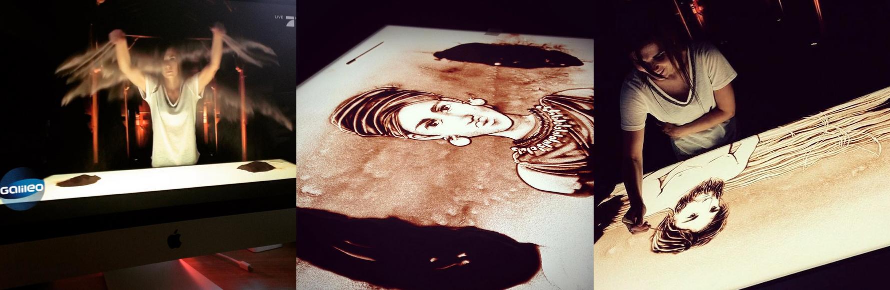 Vernessa Himmler Sandkünstlerin Sandshow Hamburg Event Sandmalerin