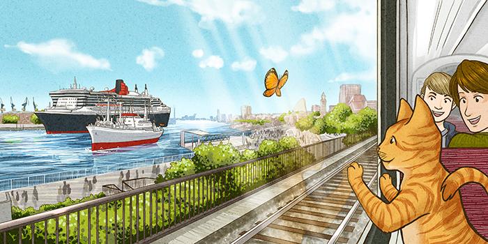 Hamburg Hafen Illustration