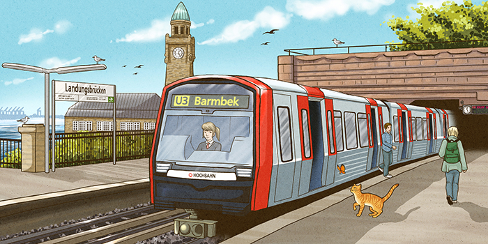 Landungsbrücken Hamburg Illustration