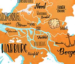 Handlettering: Karte von Hamburg