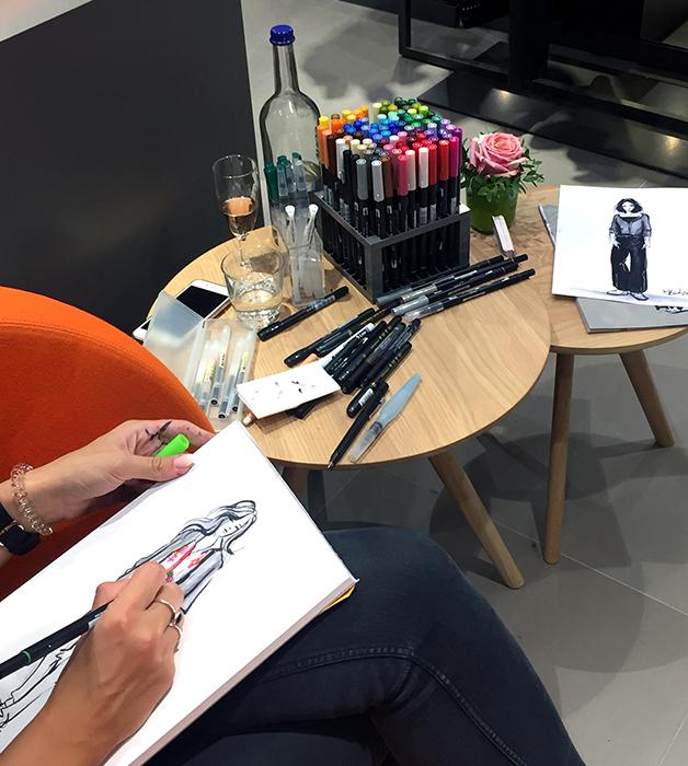 RIANI live sketching fashion live zeichner zeichnerin