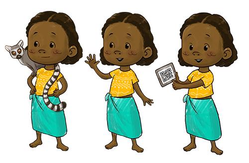 Sympathiefigur Maskottchen Charkter Mädchen Illustration