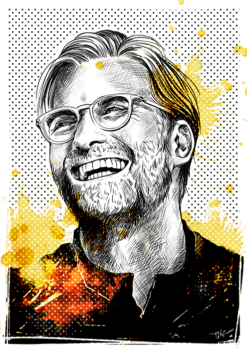 Jürgen Klopp Fussball Sport Portrait Illustration Editorial Ham