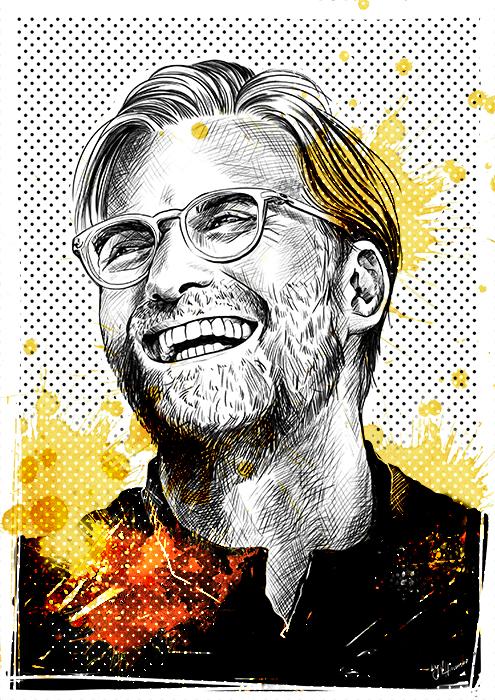 Jürgen Klopp Fussball Sport Portrait Illustration Editorial Ham