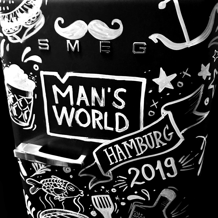 Live Drawing SMEG Hamburg Man's World Messe Live Sketching
