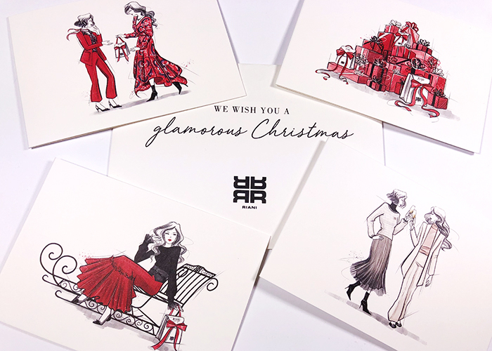 Fashion Illustration Christmas Card RIANI Mode Illustration Vernessa Himmler Hamburg