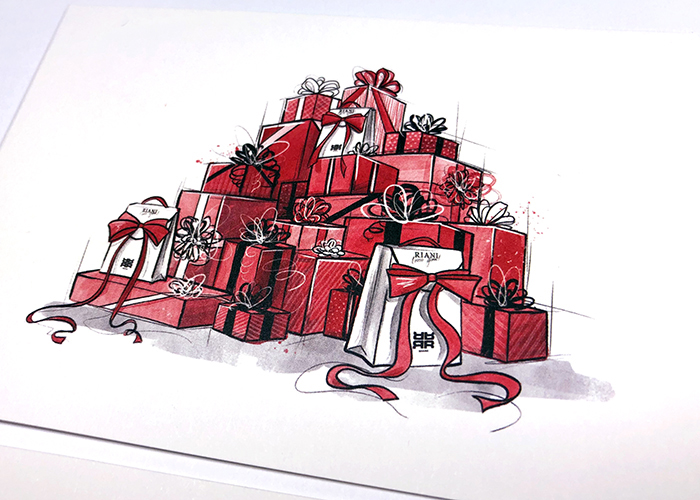 Fashion Illustration Christmas Card RIANI Mode Illustration Vernessa Himmler Hamburg