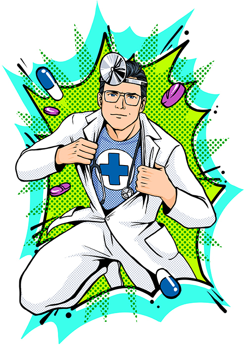 Illustration Comic Arzt Superman